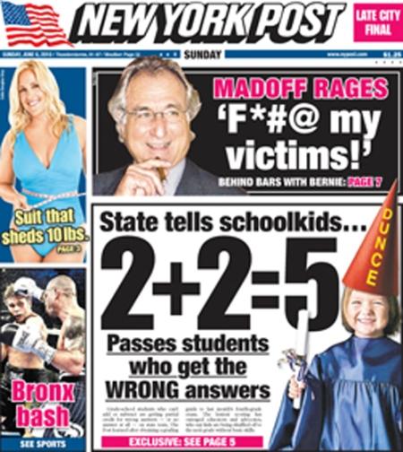 State tells schoolkids 2+2=5